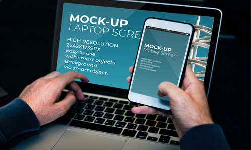 Laptop And Mobile Screen MockUp – PSD Template